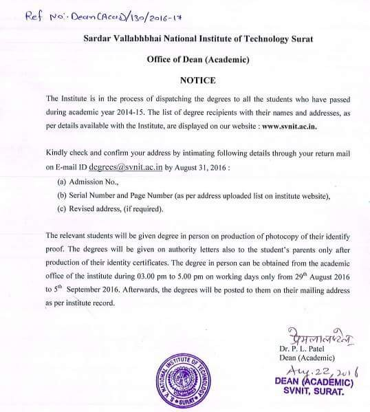 SVNIT - Notice for Degree Certificate 2014-15 batch. ..